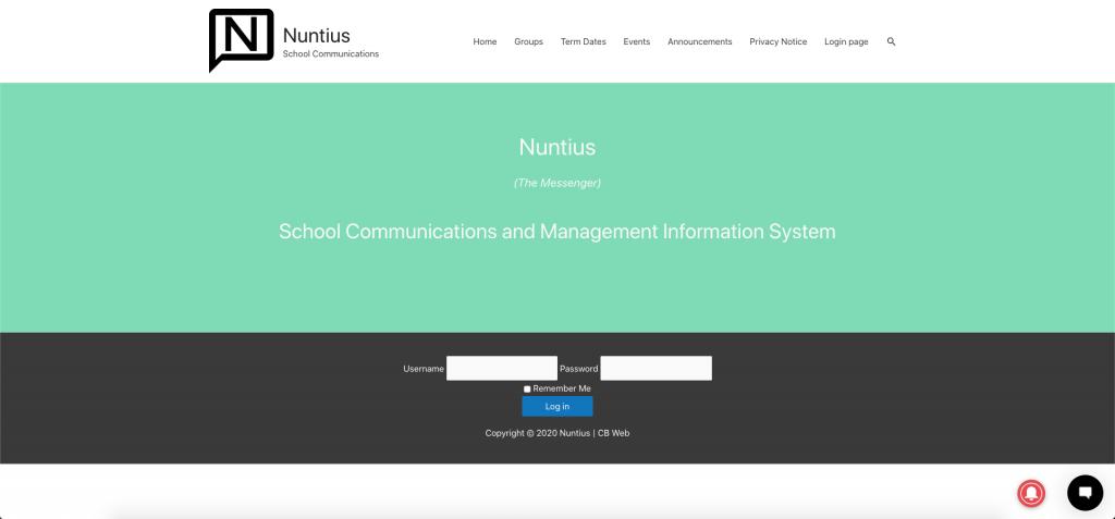 Nuntius-homepage